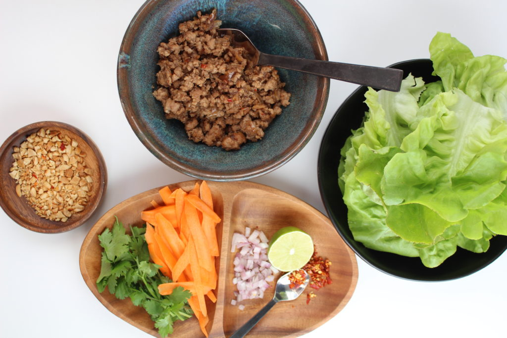 Ingredients for making lettuce cups