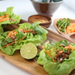 3 lettuce wraps on a plate