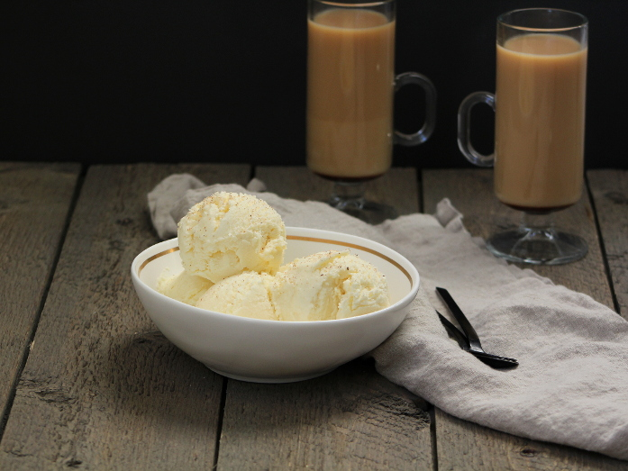 eggnog ice cream in a bowl with coffee