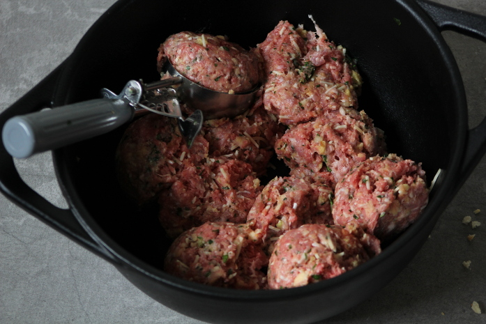 forming meatballs with an ice cream scoop