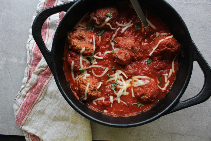 Pork and Beef Meatballs in a Dutch Oven