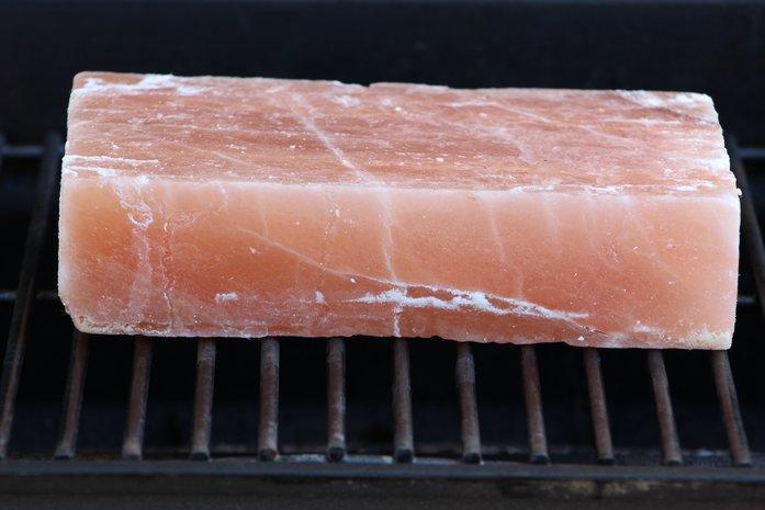 Himalayan salt block on grill