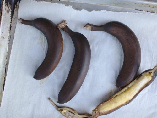 roast bananas, peels turn black