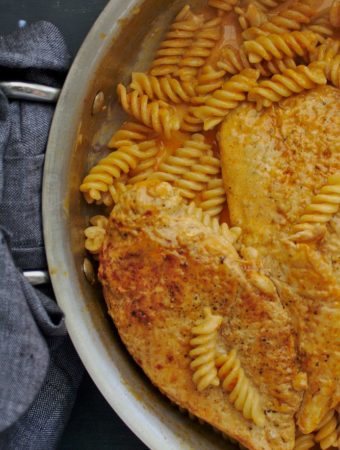 fusilli in creamy orange sauce with chicken