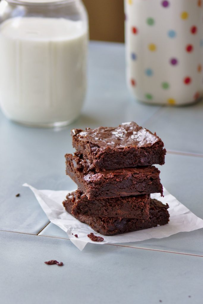 fudgy brownies with espresso stacked with milk