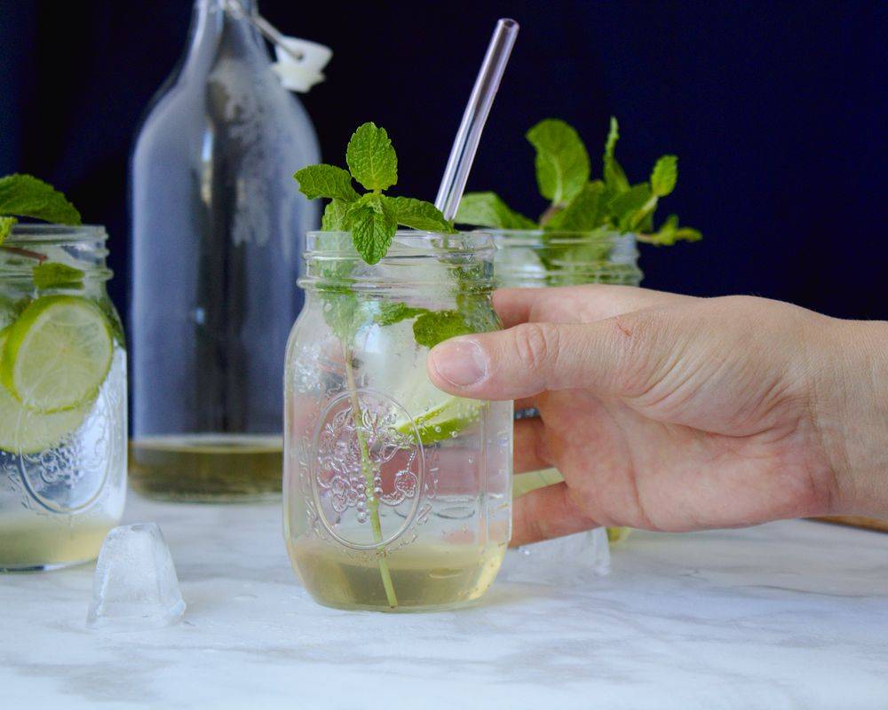 bubbly mint and lime soda for spring
