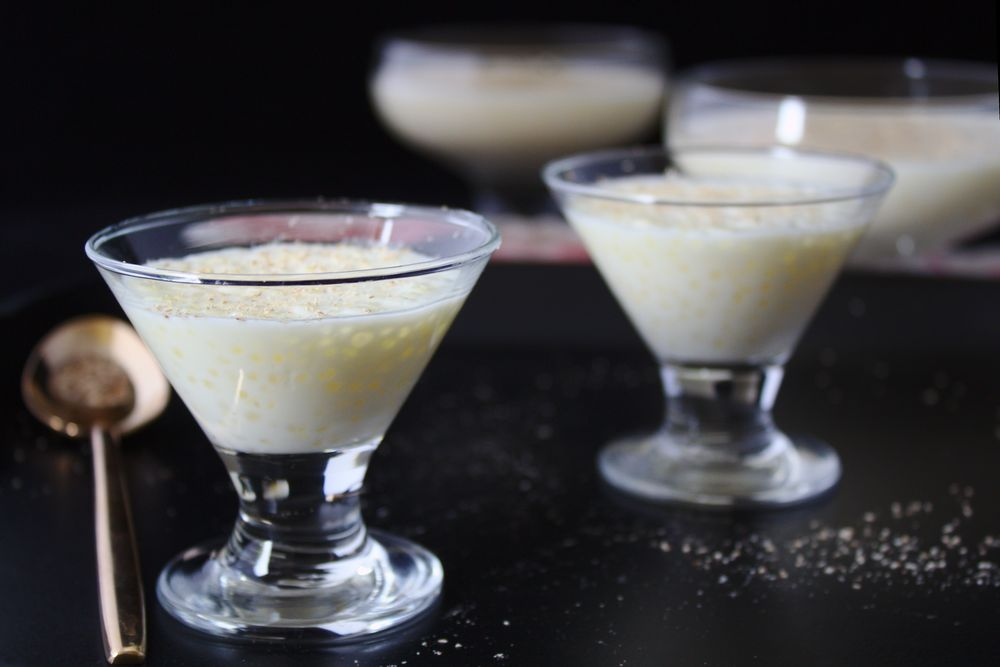 gourmet glasses filled with tapioca pudding