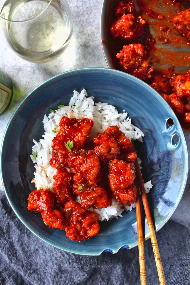 crispy chicken with a homemade Asian sauce made with Ketchup, onions, garlic, and chile oil