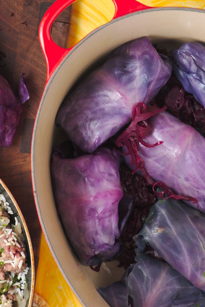 cabbage rolls stuffed with ground beef and rice