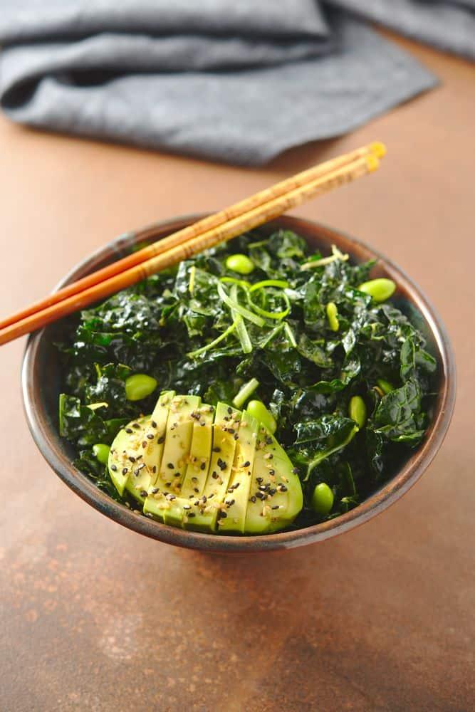 kale salad, avocado, sesame, edamame, scallions