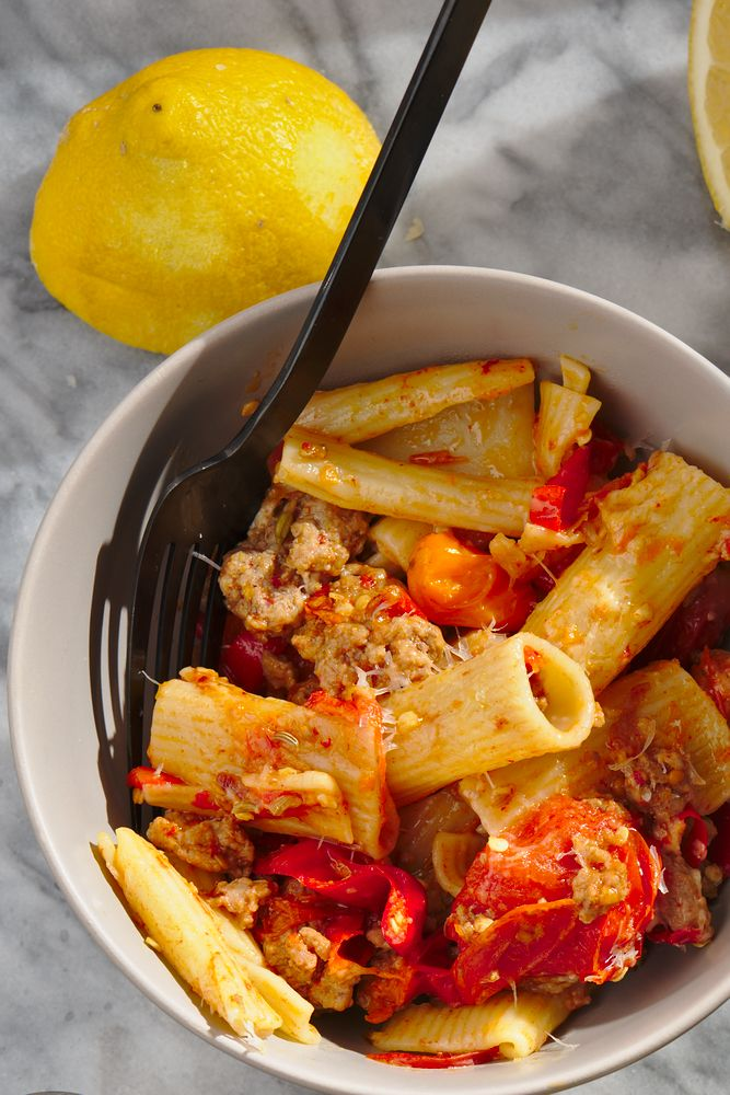rigatoni served with ground pork, pepper and tomato sauce