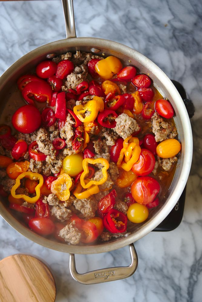 how to cook pork with tomatoes and peppers