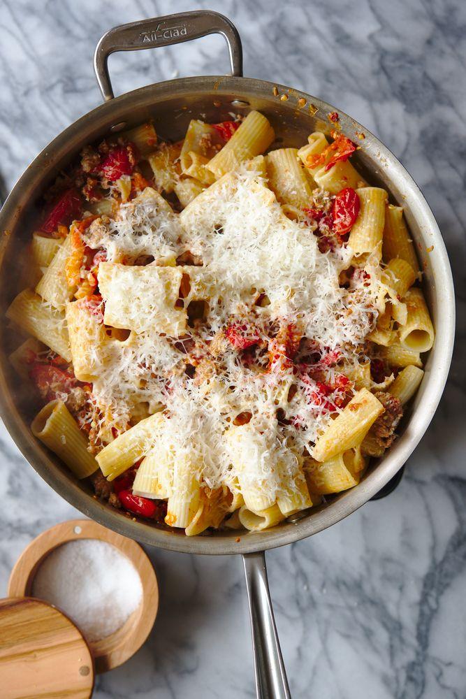 pasta rigatoni with pork and pepper, tomato sauce