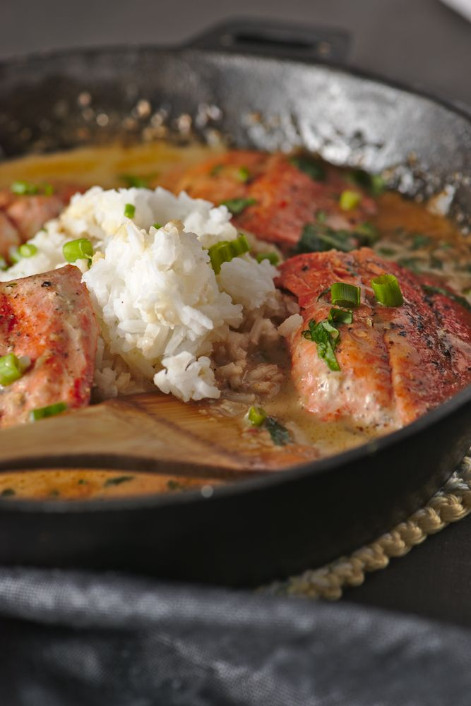 salmon with curry coconut kaffir lime sauce