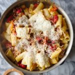 rigatoni pasta noodles with pepper tomato pork