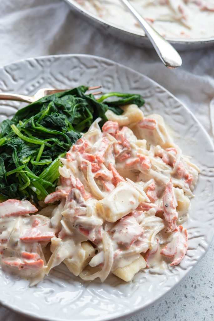 gnocchi with salmon cream sauce
