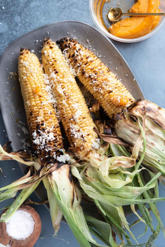grilled corn with ancho chili oil
