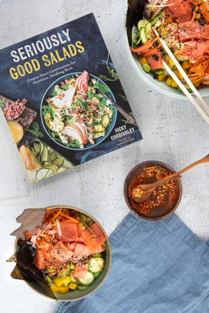 seriously good salads cookbook and sushi salmon bowl recipe