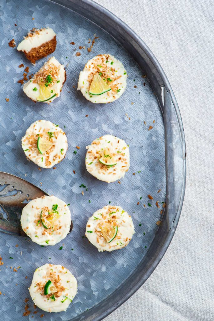 lime cheesecake bites with toasted coconut and lime zest