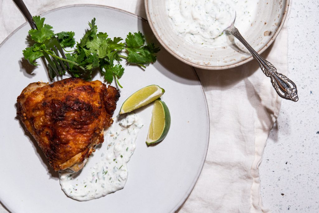 chicken thigh with yogurt sauce