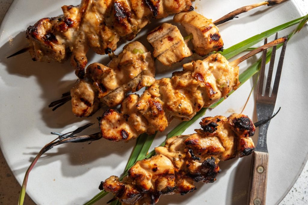 grilled chicken with lemongrass on skewers