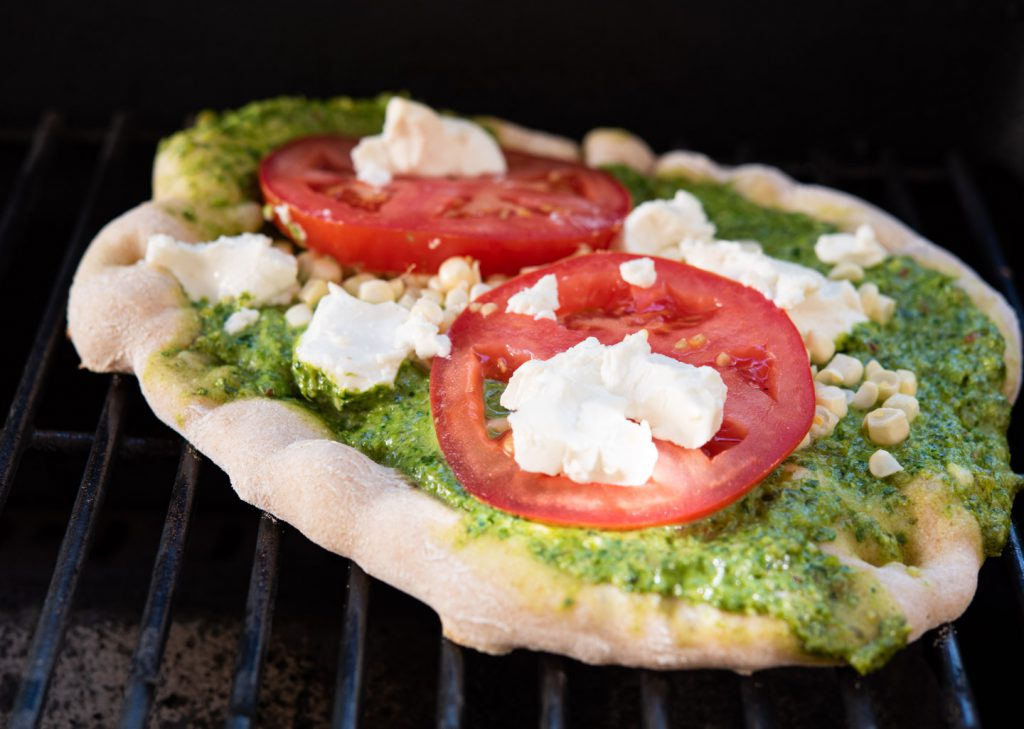 grilling the flatbread
