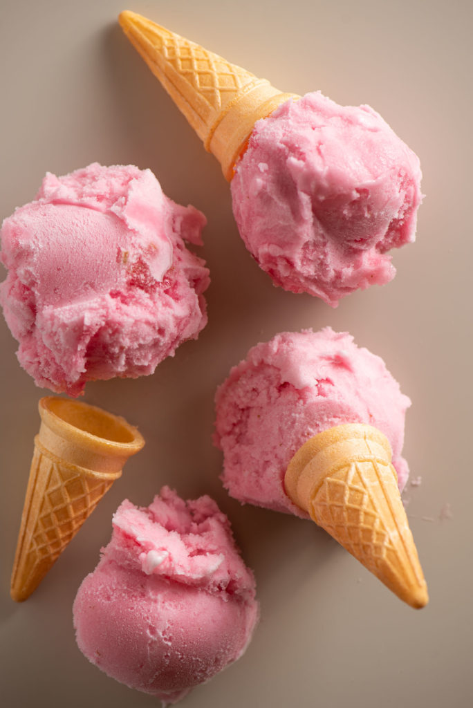 rhubarb lime sorbet with ice cream cones