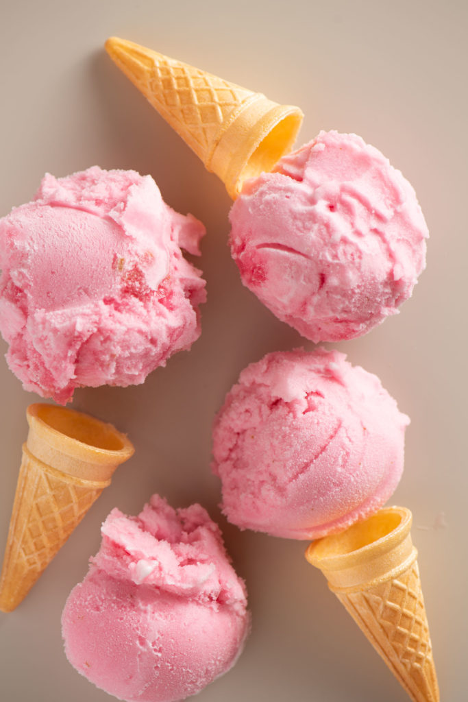 rhubarb lime ice cream with cones