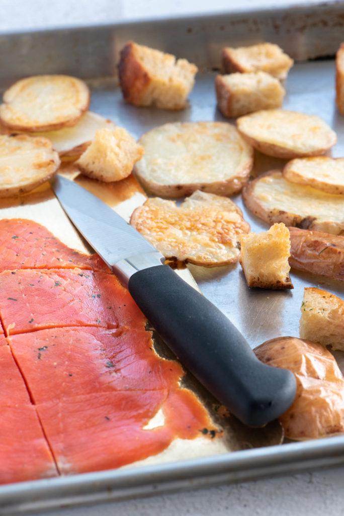 smoked salmon, homemade croutons and baked potatoes