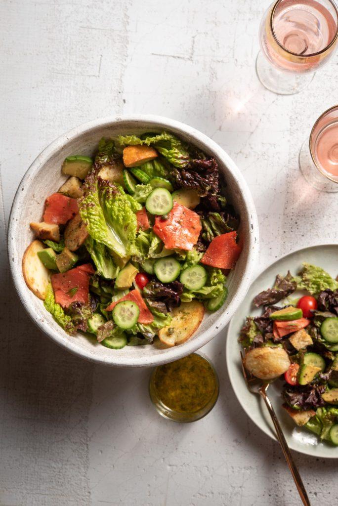 smoked salmon salad with lemon dill dressing vinaigrette