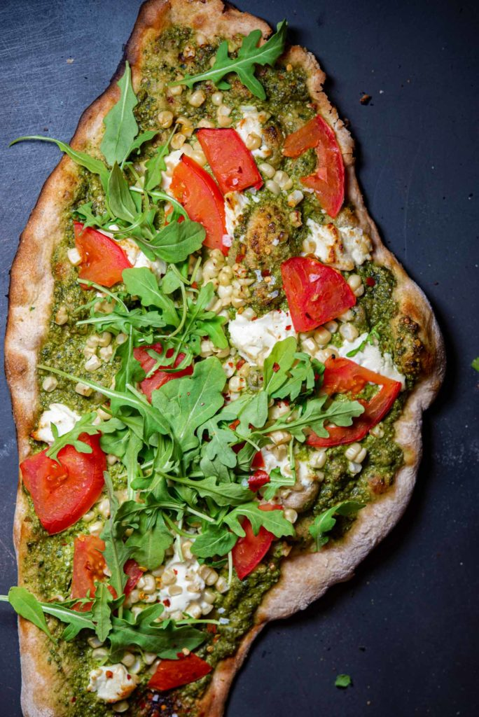 crunchy flatbread with summer vegetables