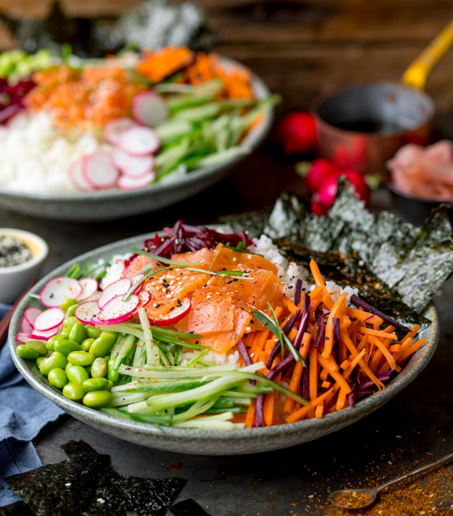sushi salmon salad bowl