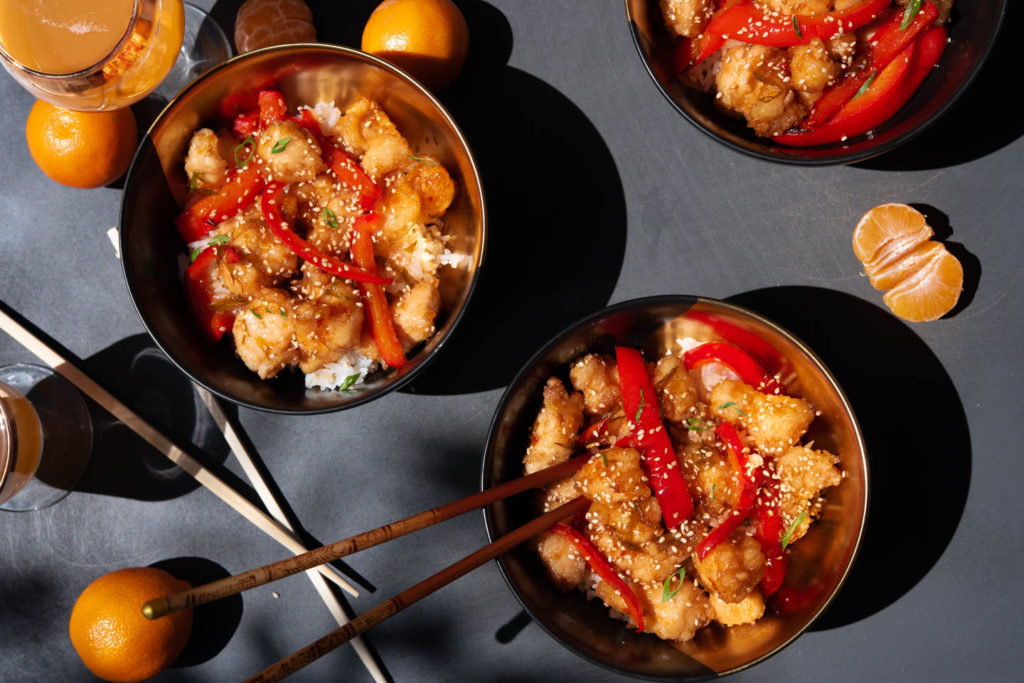 mandarin orange and sweet and sour chicken