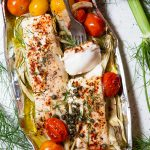 halibut foil pack dinner with tomatoes and fennel