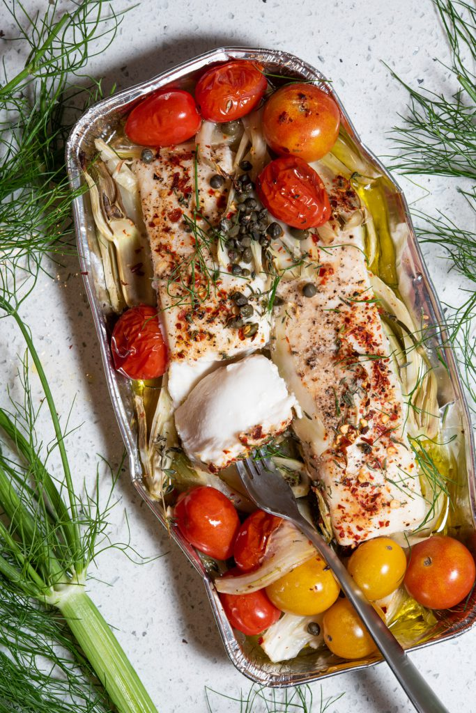 halibut cooked in foil with tomatoes, capers, white wine, and fennel
