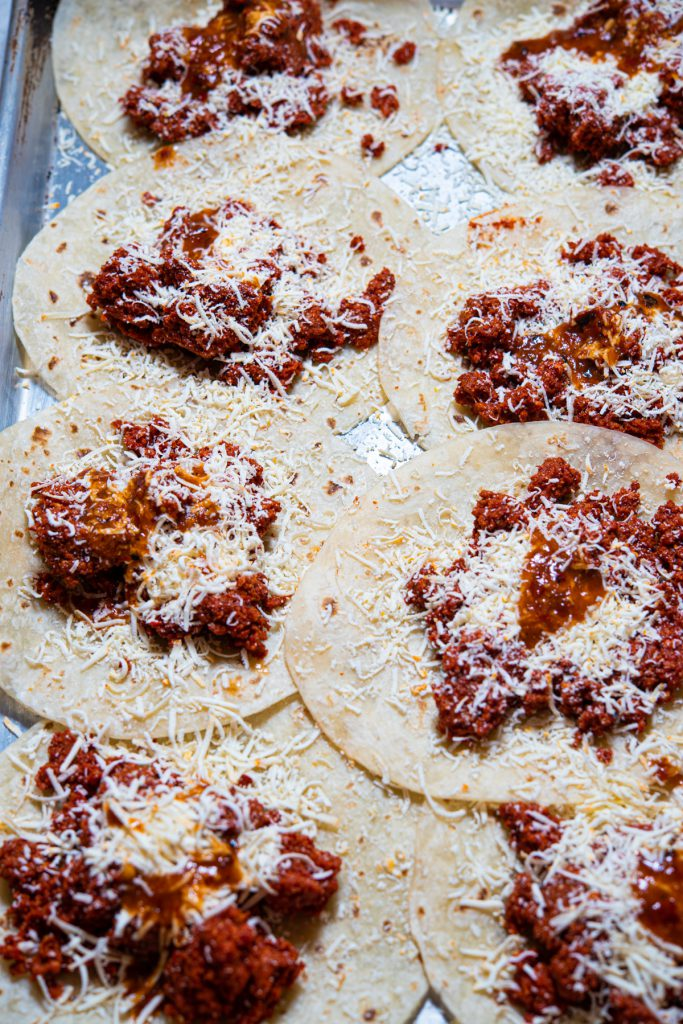 beef chorizo and cheese fill tortillas