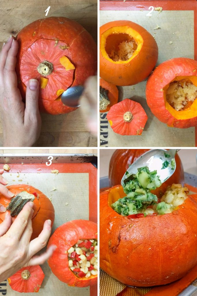 carving the pumpkin, removing the seeds, and stuffing the pumpkin with soup