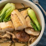 miso cod with mushrooms, bok choy, and kombu