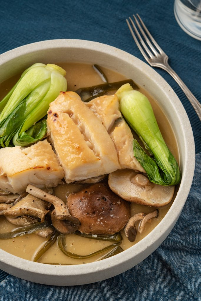 miso cod with mushrooms and bok choy