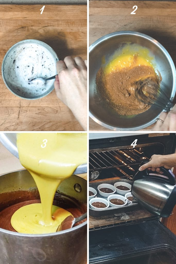 gallery steps for making pots de creme with chocolate and coconut milk