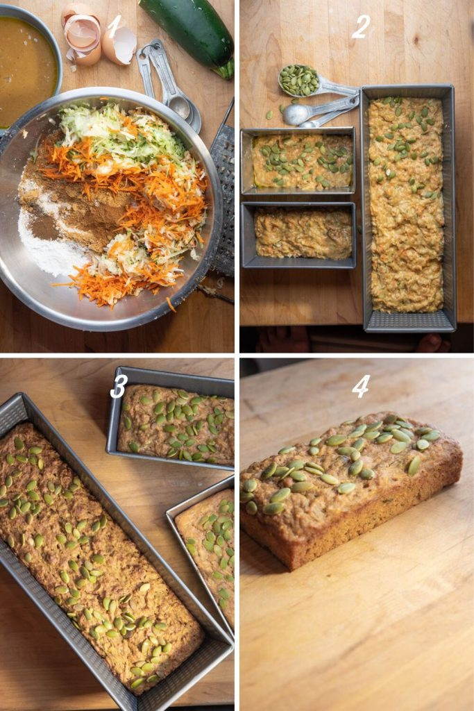 gallery of process shots: dry ingredients with shredded carrot, parsnip, and zucchini, batter in bread pans topped with pumpkin seeds, baked bread, loaf on a cutting board with pumpkin seeds