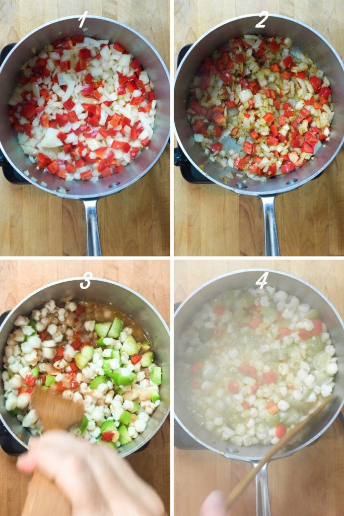southwestern stew with hominy, bell pepper, tomatillos, and chili powder