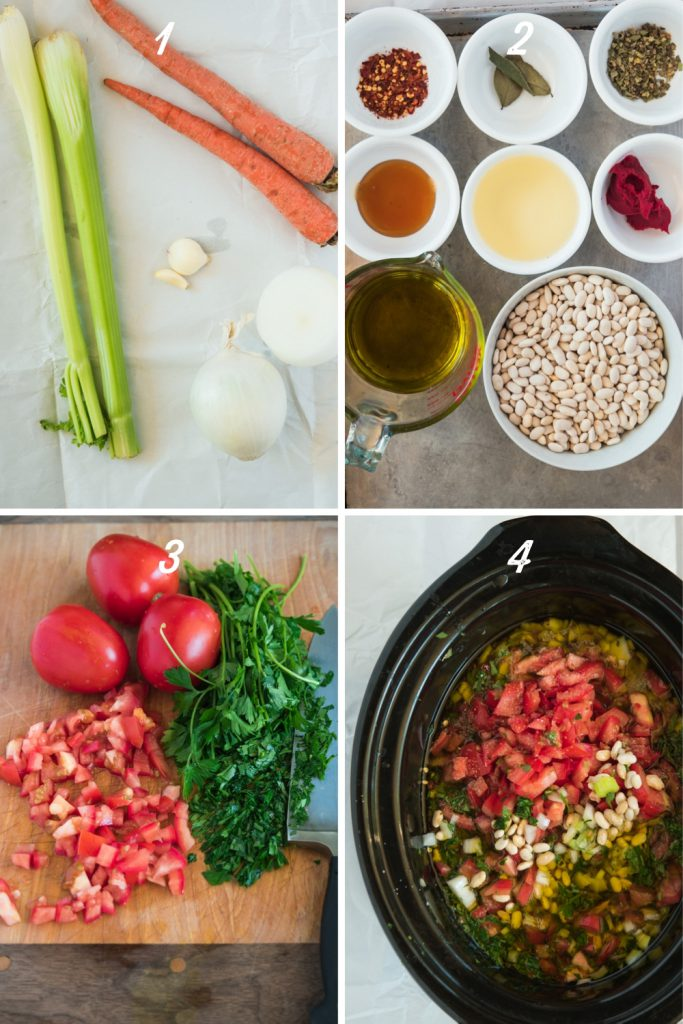 ingredients mis en place and crockpot with tomato, herbs, and olive oil