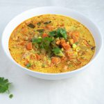 turmeric vegetable soup in bowl