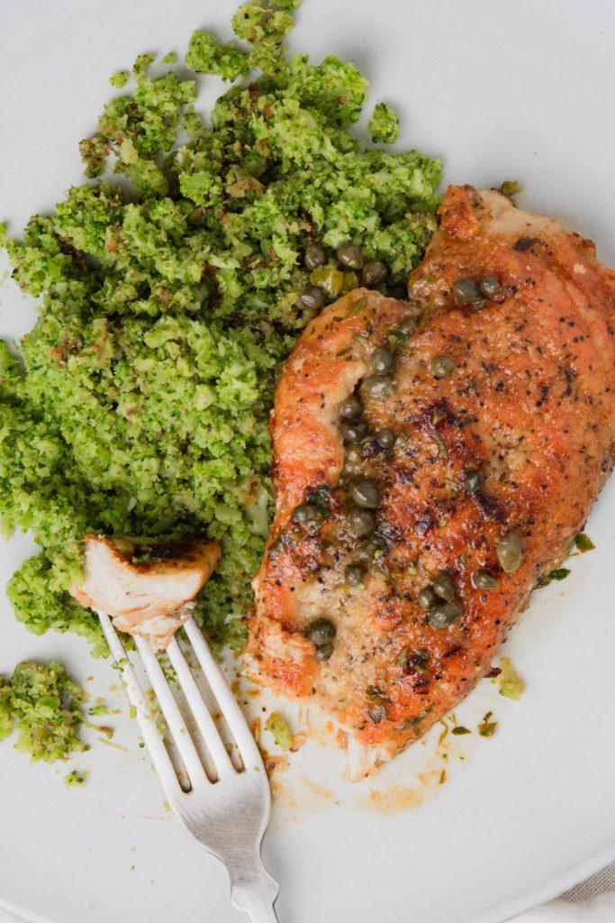 chicken piccata with caper lemon white wine sauce and broccoli rice