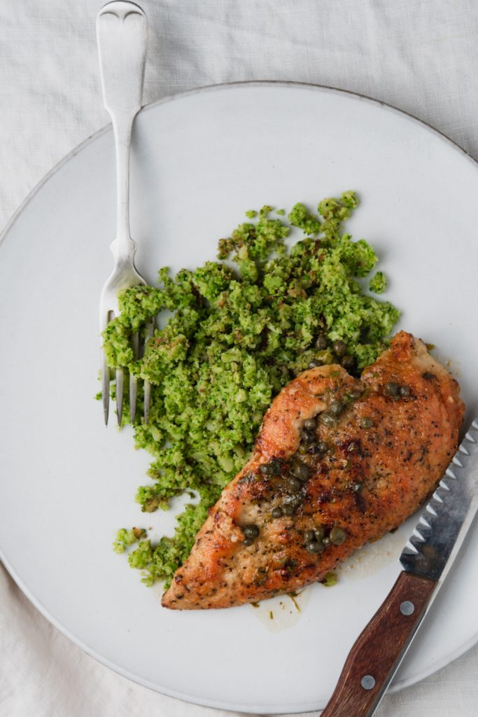 chicken piccata with lemon sauce, capers, white wine, and broccoli rice