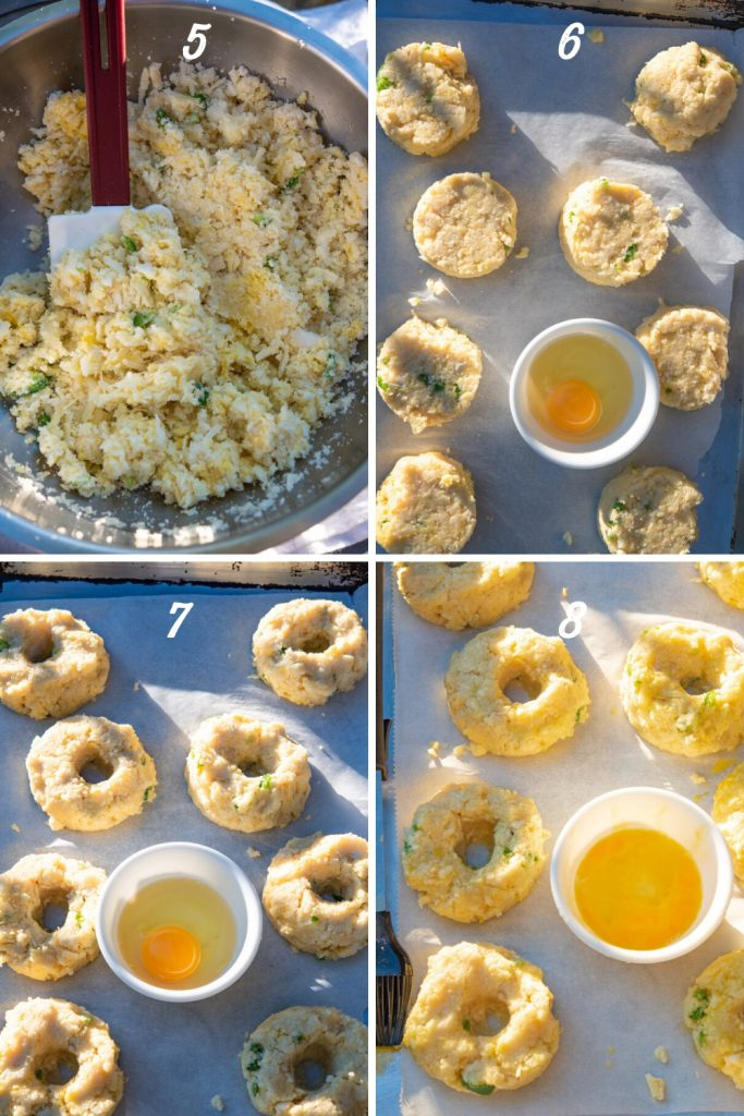 mixing cauliflower bagels and forming into bagel shapes