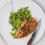 chicken piccata with lemon, white wine, capers, and broccoli rice