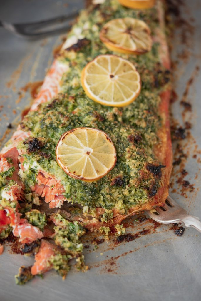 wild salmon fillet topped with herb crust