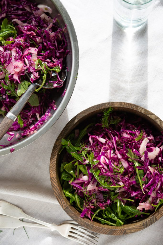 purple cabbage, fennel fronds, arugula and balsamic dressing